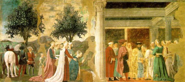 Piero,_arezzo,_Adoration_of_the_Holy_Wood_and_the_Meeting_of_Solomon_and_the_Queen_of_Sheba_01